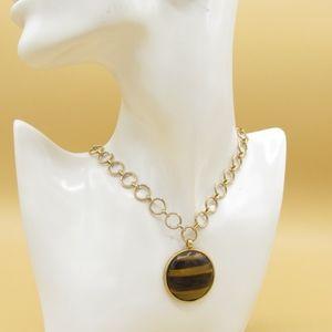 Vintage Chaps Tiger Eye Necklace Goldtone